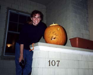 Anne with carved pumpkin