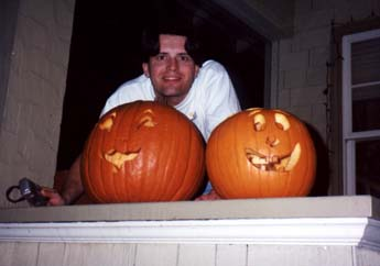 Steve with carved pumpkins