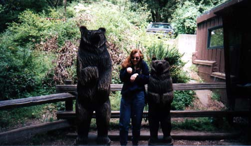 Anne with bear sculpture at Muir Woods