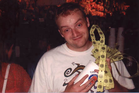 Brian with his arcade ticket winnings