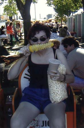 Anne eating fair food