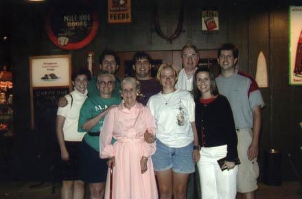 Shaw family at Grandma Hoots' birthday dinner