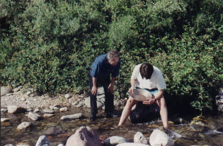 Dad and Steve panning for gold