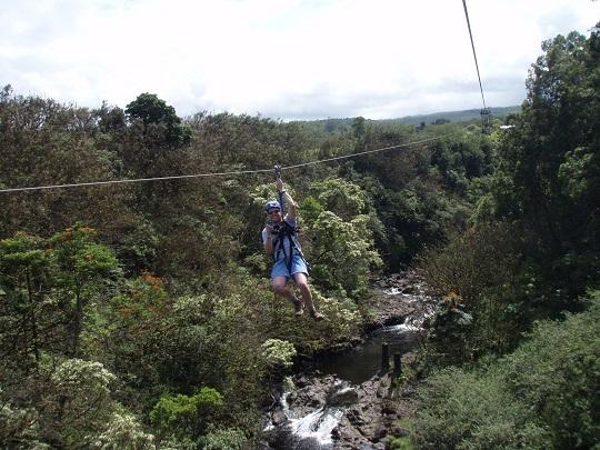 Steve ziplining