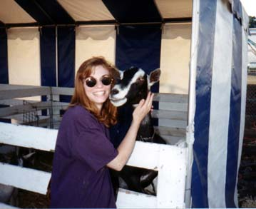Anne with a goat at the Marin County Fair