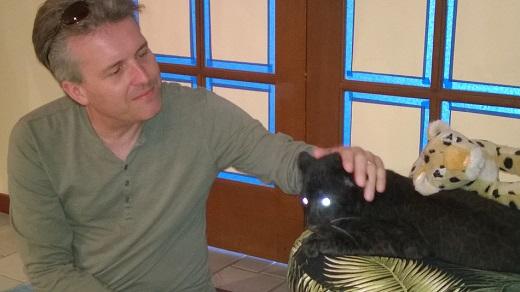 Steve petting Kanika