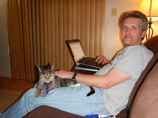 Steve with Dulcie on a sleepover