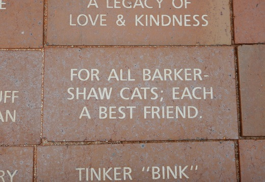 Engraved brick at new Best Friends clinic
