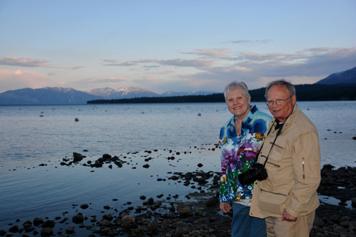 Mom and Dad at sunset on Lake Tahoe