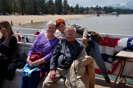 Mom, Dad, and Anne on boat to Emerald Bay