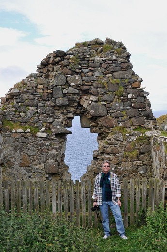 Steve at ruins of Duntulm