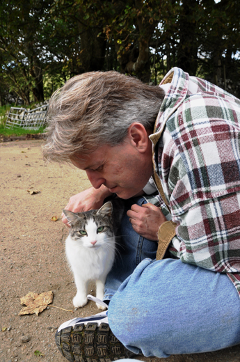 Steve with friendly feline near Talisker Bay