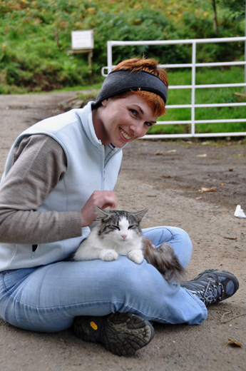 Anne with friendly feline near Talisker Bay