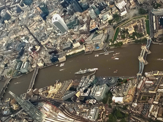 River Thames and Tower Bridge from airplane