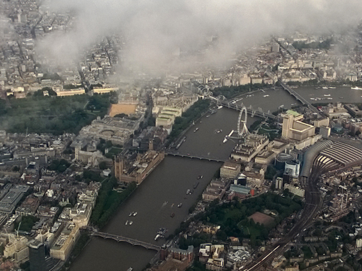 River Thames and London Eye from airplane