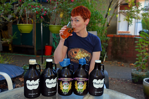 Anne with Apple Hill growlers