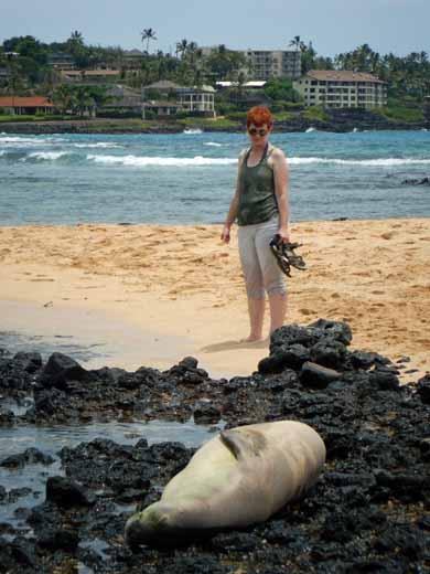 Anne with Hawaiian monk seal