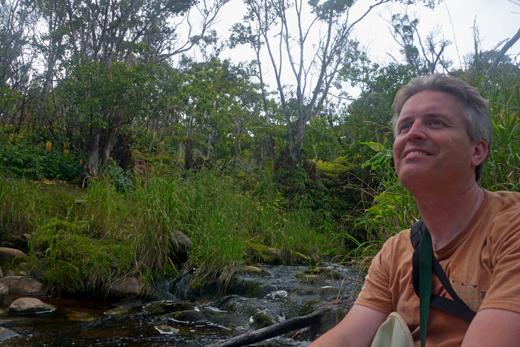 Steve at stream on Alakai Swamp Trail