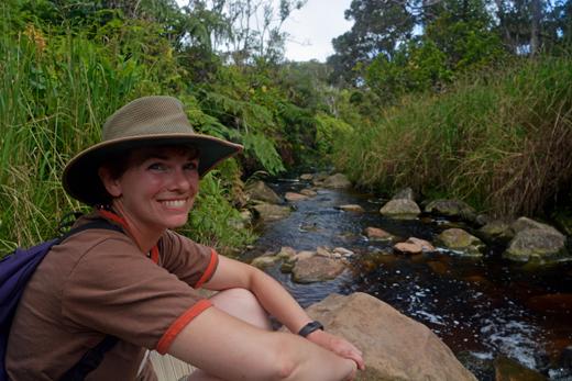 Anne at stream on Alakai Swamp Trail