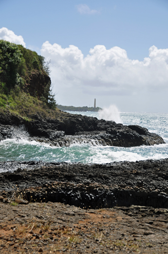 view of Nawiliwili Lighthouse from Kuki'i Point