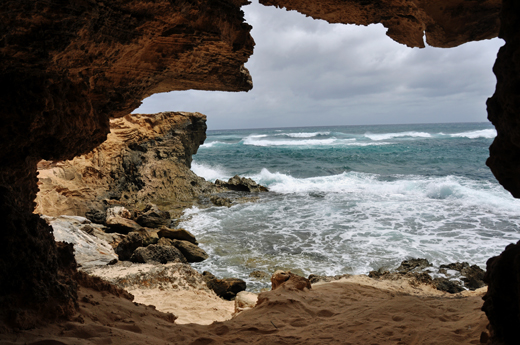from cave on Shipwrecks Beach