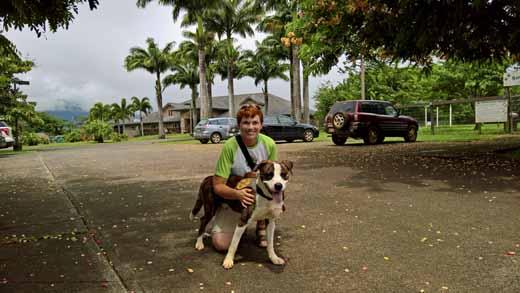 picking up Dallas at the Kauai Humane Society
