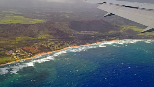 Kauai from airplane