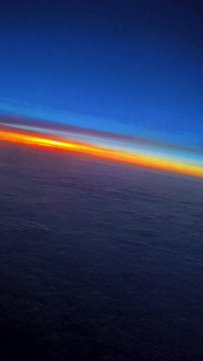 sunset from airplane