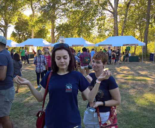 Marie going zen and Anne at Hard Core Cider Tour 2016