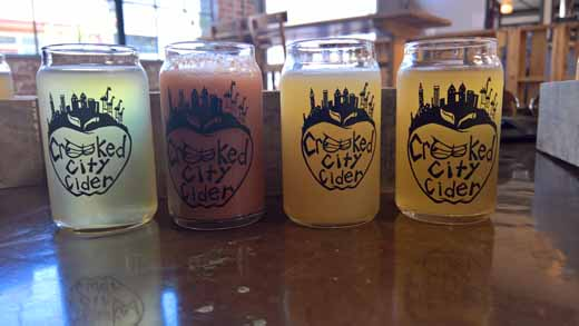 flight of Crooked City cider