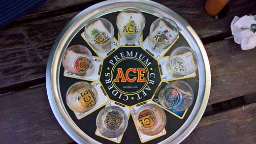 empty flight of Ace Cider