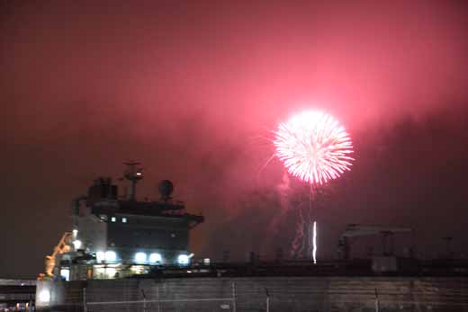 cargo ship photo bomb, Point Richmond's fireworks on the Bay